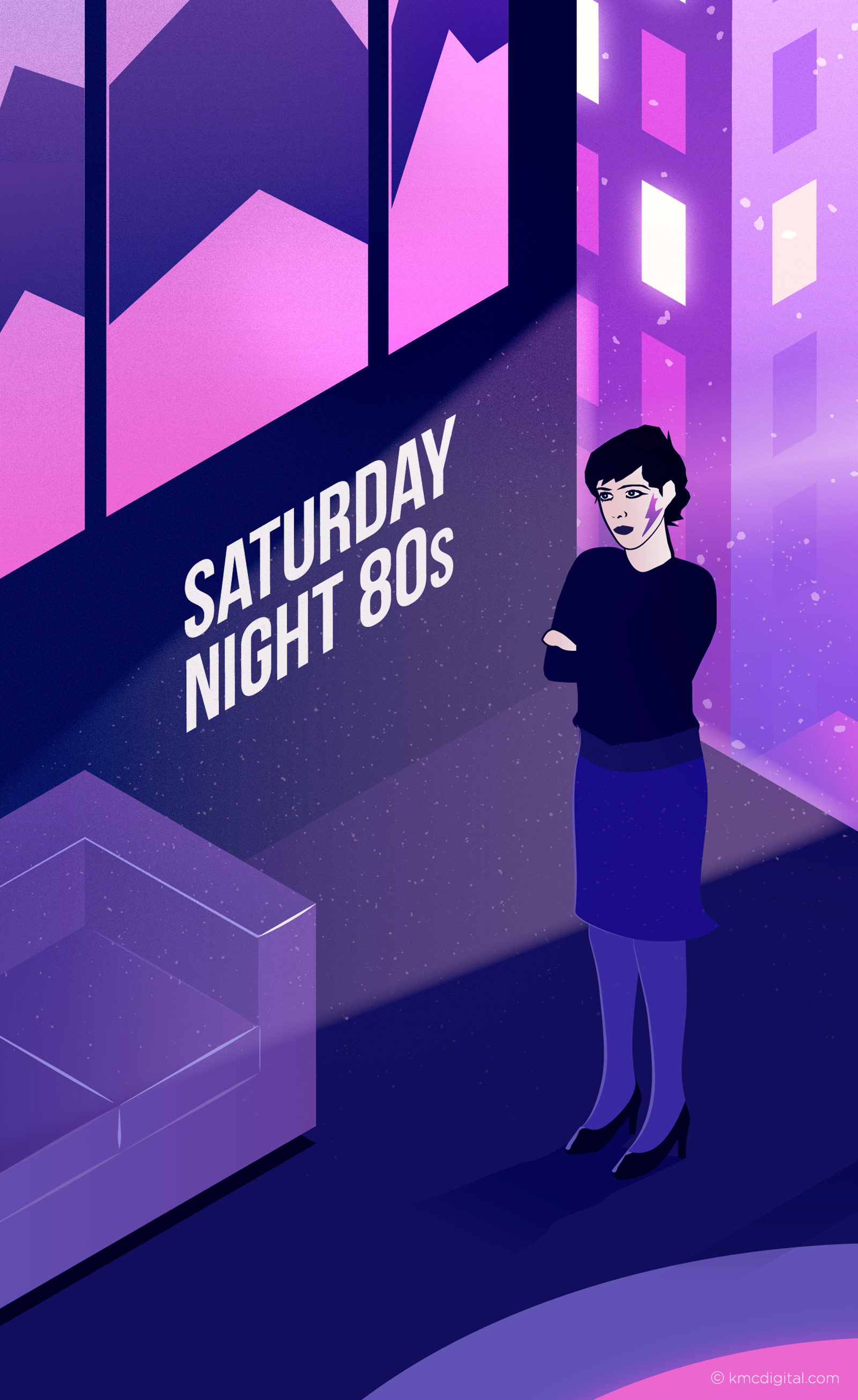 illustration 80s woman in apartment