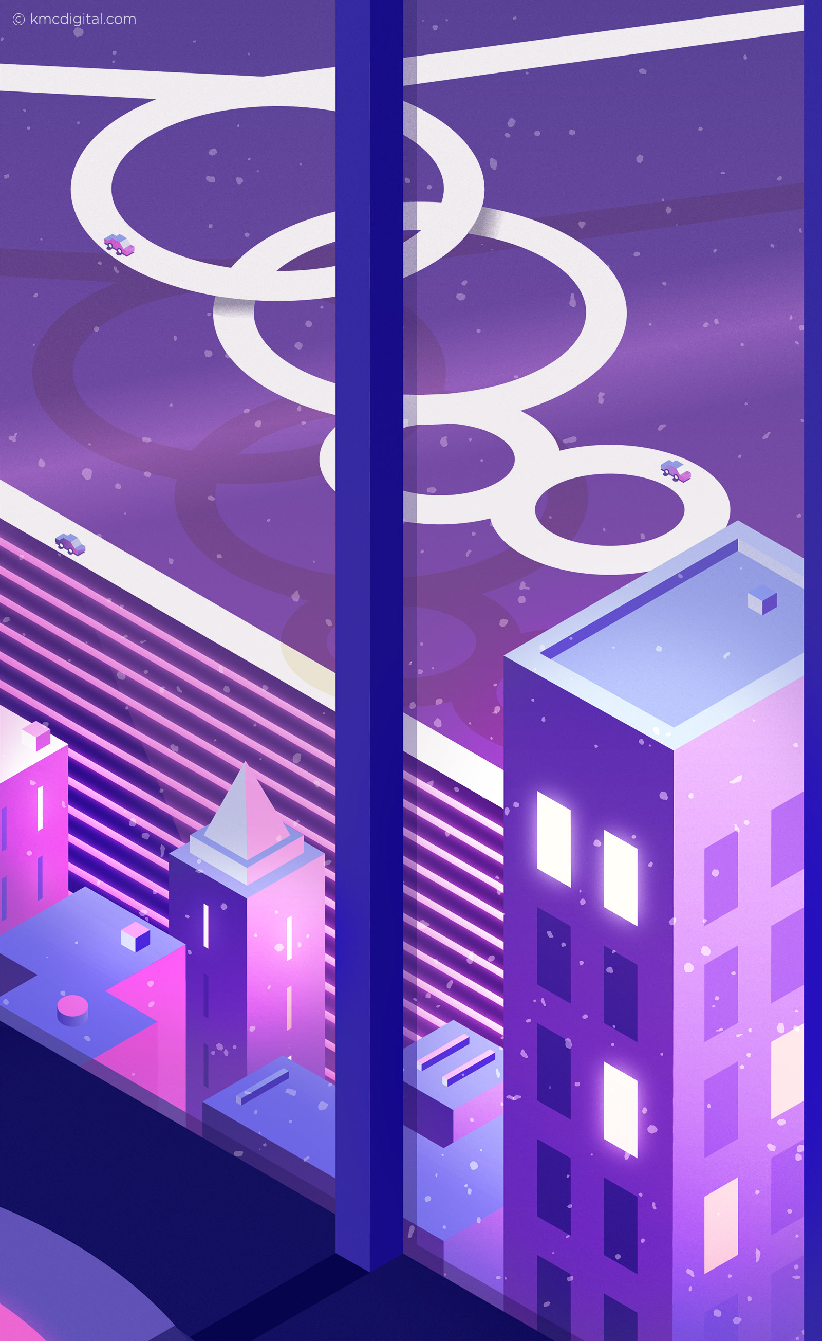 illustration 80s window apartment view