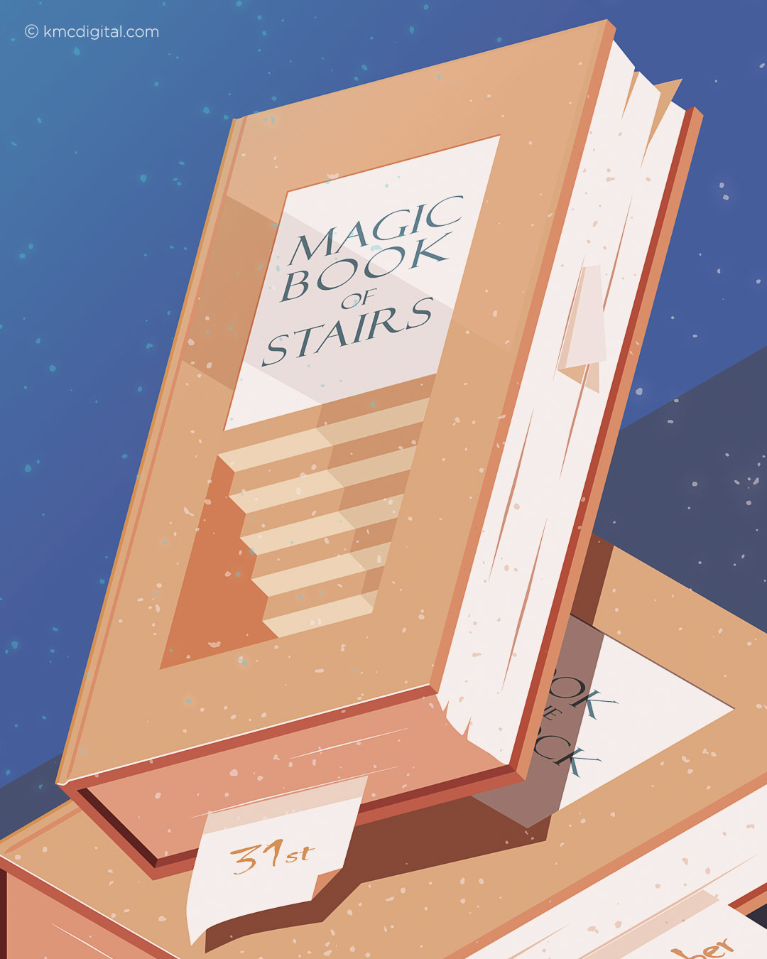 Illustration magic book of stairs