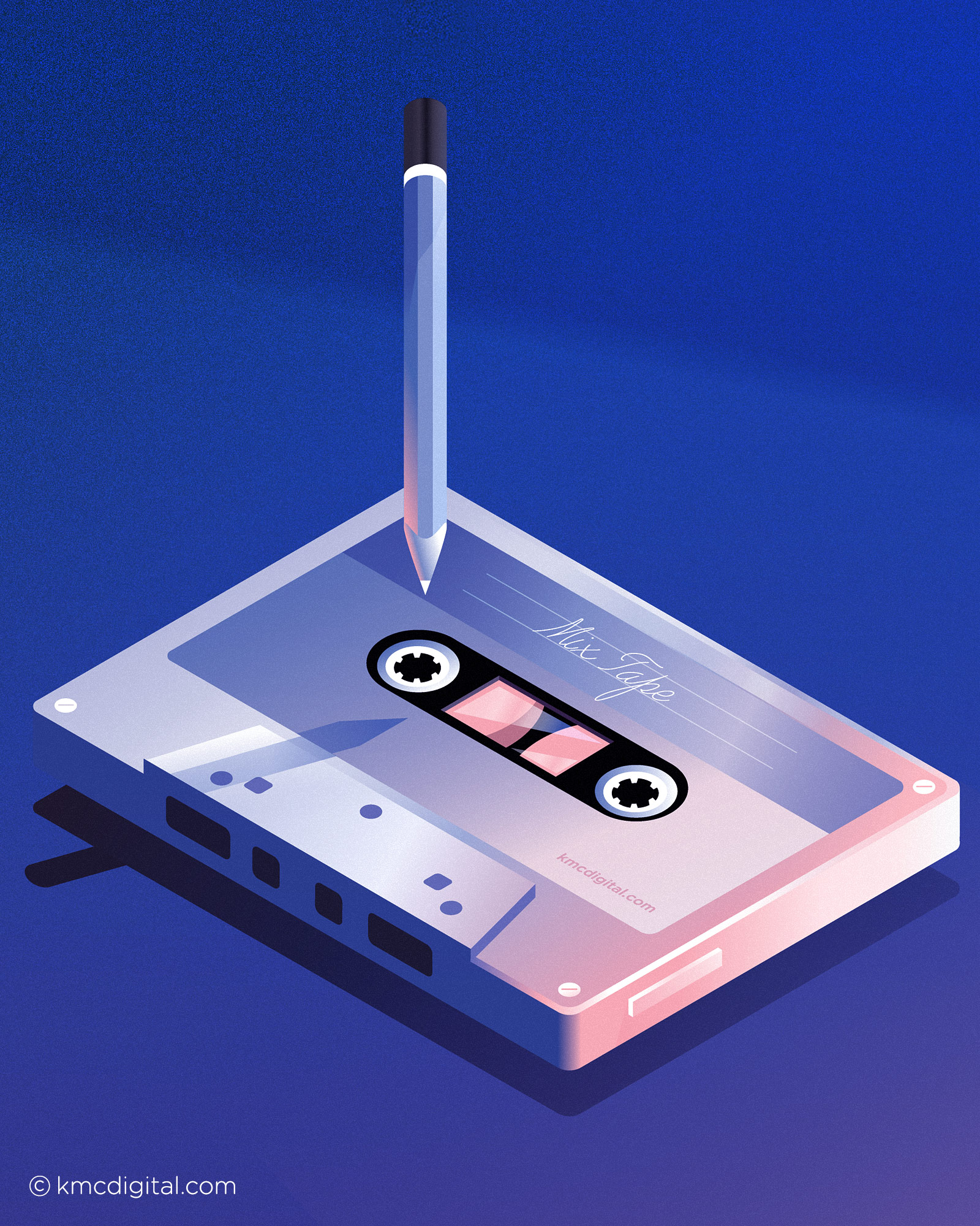 Illustration Mix tape audio cassette and pencil