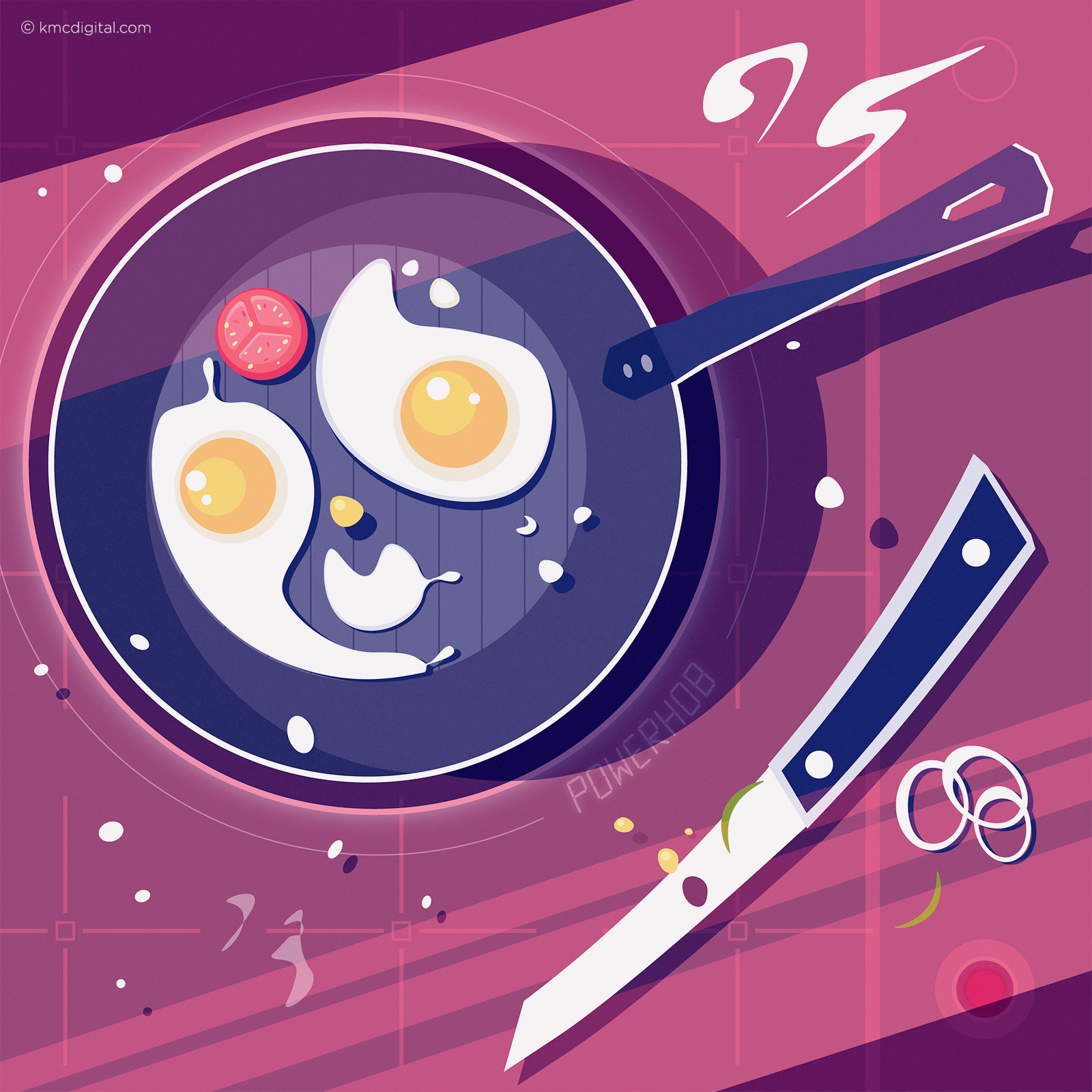 Illustration of frying pan and hob with eggs