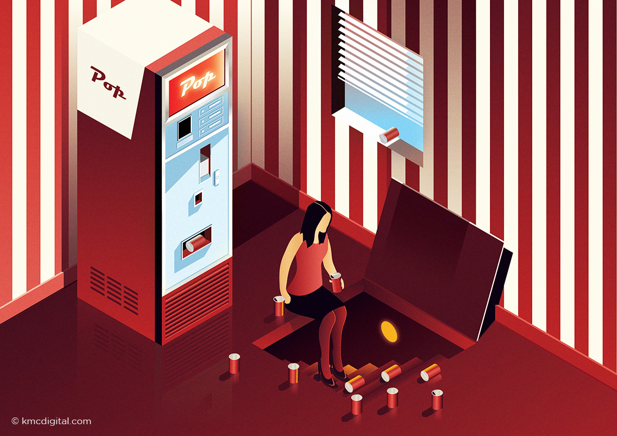 vector illustration of woman and vending machine
