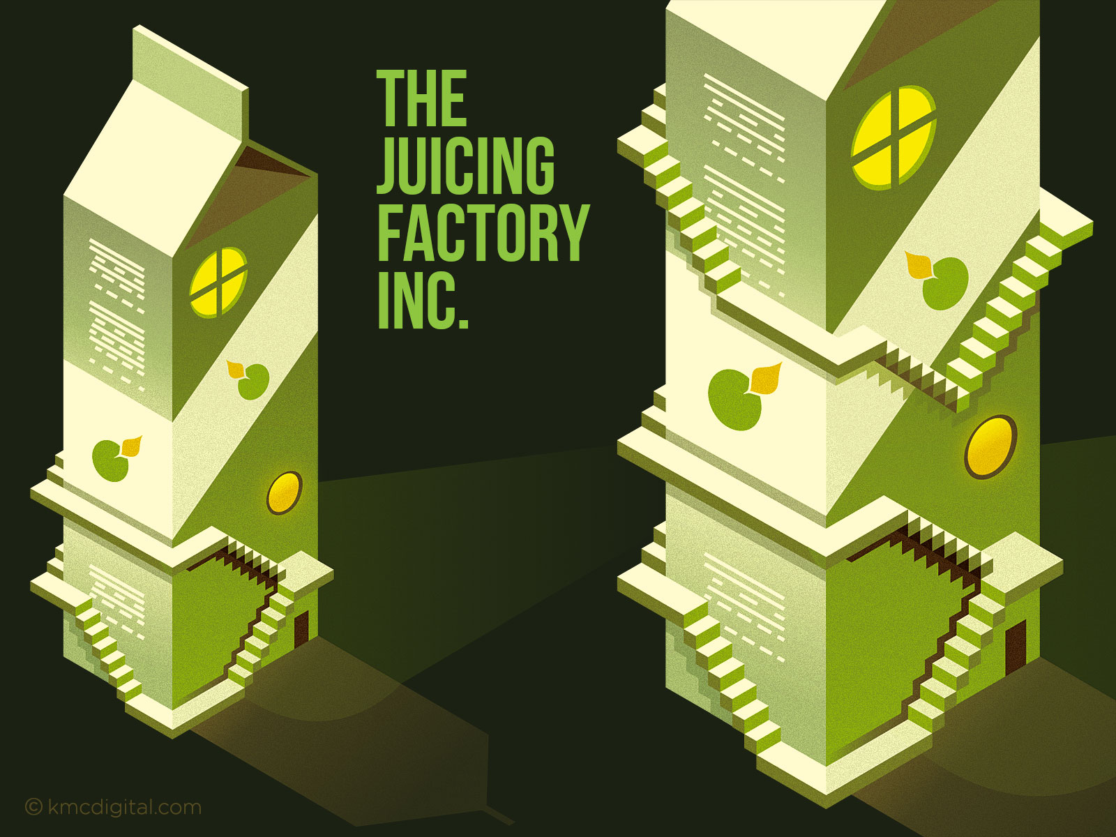 Juicing Factory Illustration vignette