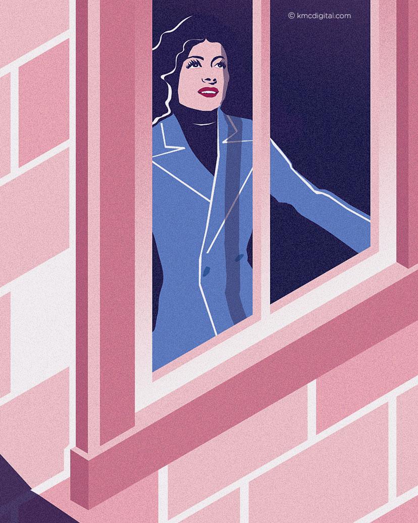 illustration of woman at window