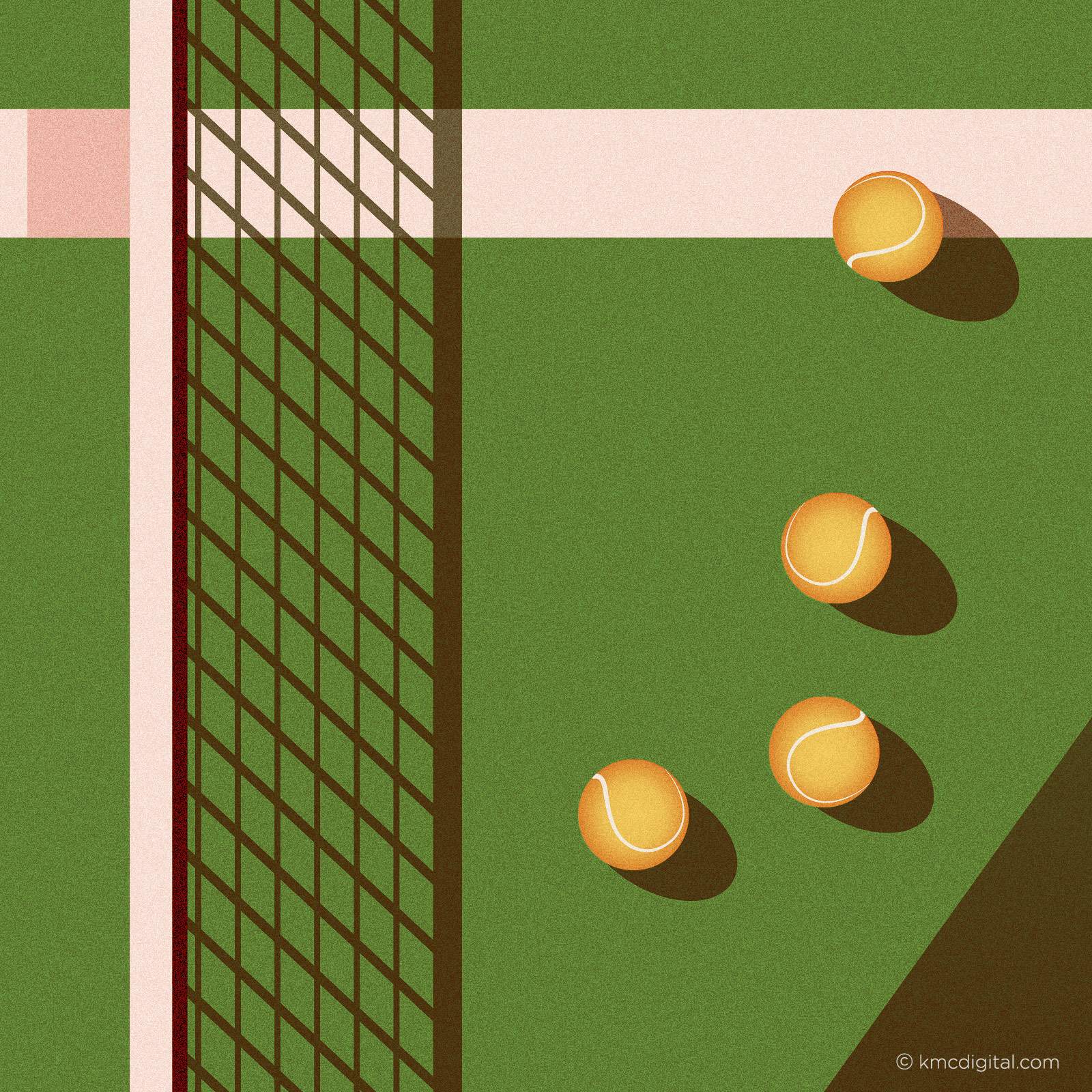 Illustration of tennis balls and net