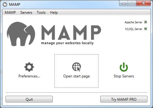 MAMP - Open start page