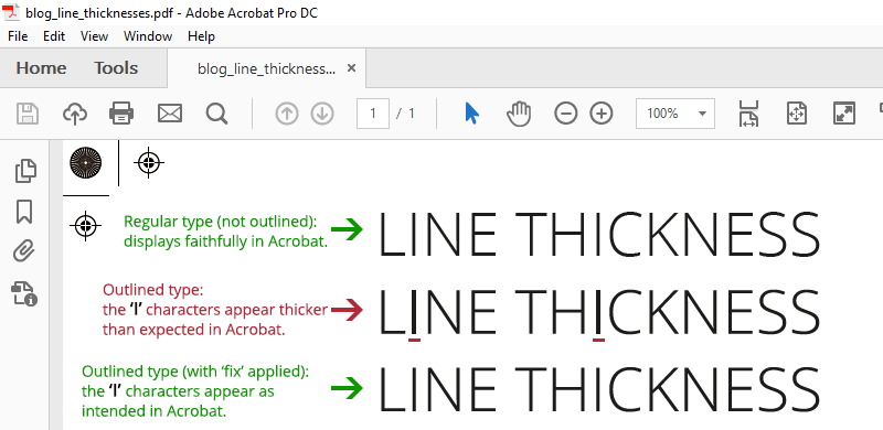 acrobat pdf line thickness solution