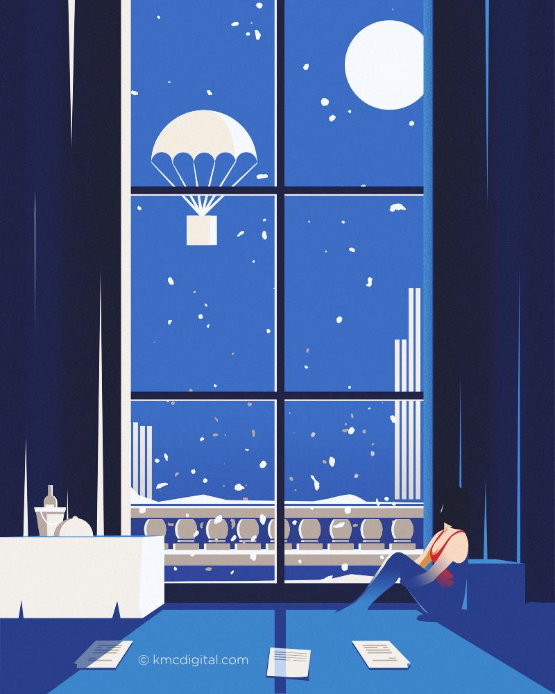 blue hotel illustration vector